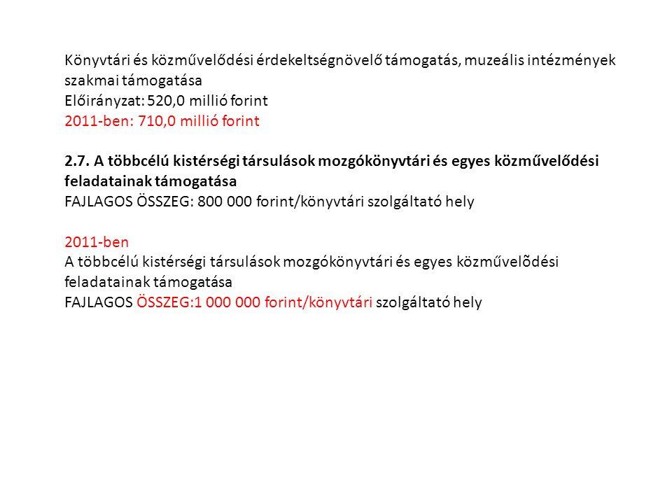 Könyvtári és közművelődési érdekeltségnövelő támogatás, muzeális intézmények szakmai támogatása Előirányzat: 520,0 millió forint 2011-ben: 710,0 milli