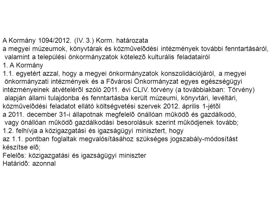 A Kormány 1094/2012. (IV. 3.) Korm. határozata a megyei múzeumok, könyvtárak és közmûvelõdési intézmények további fenntartásáról, valamint a település