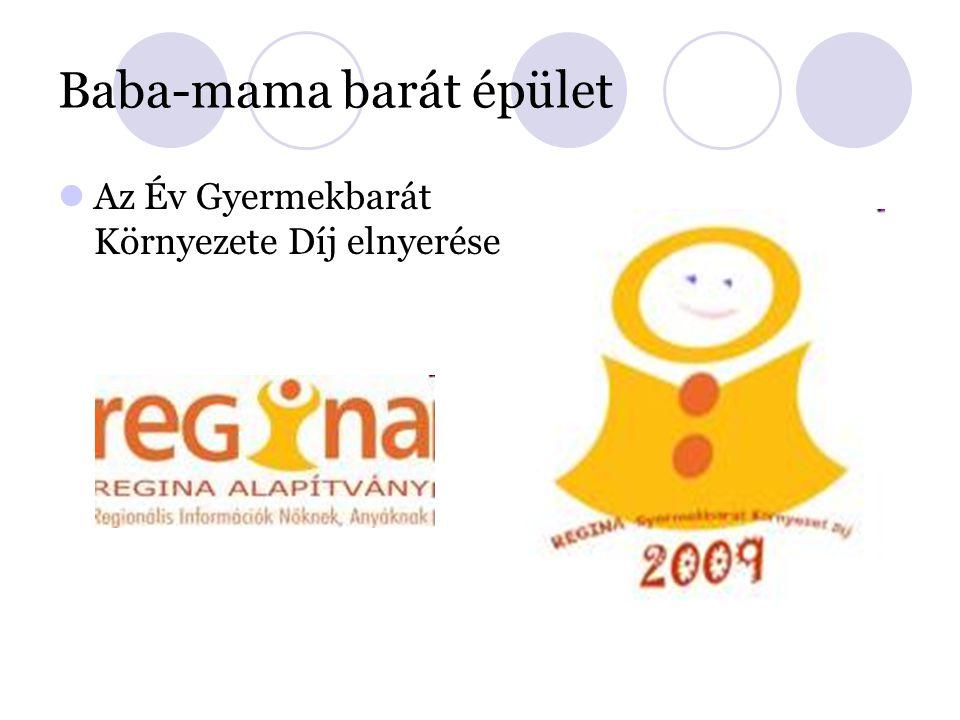 Baba-mama barát épület Az Év Gyermekbarát Környezete Díj elnyerése