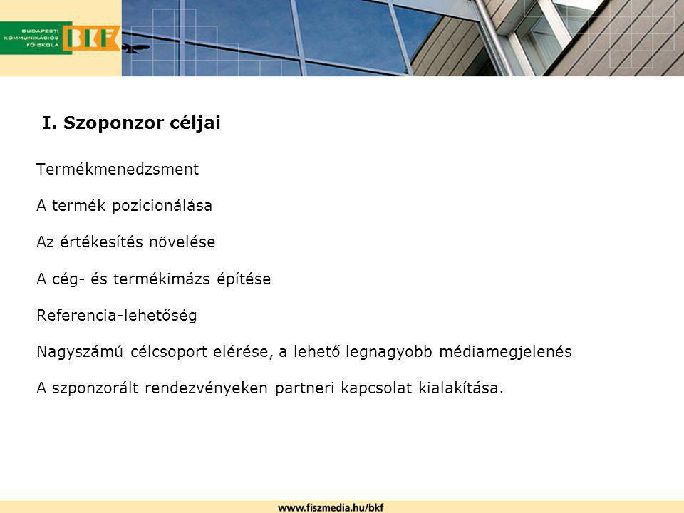 I. Szoponzor céljai Termékmenedzsment A termék pozicionálása Az értékesítés növelése A cég- és termékimázs építése Referencia-lehetőség Nagyszámú célc