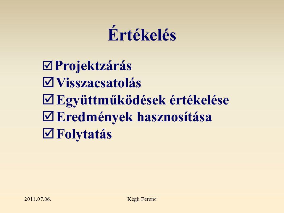 2011.07.06.Kégli Ferenc Értékelés  Projektzárás  Visszacsatolás  Együttműködések értékelése  Eredmények hasznosítása  Folytatás
