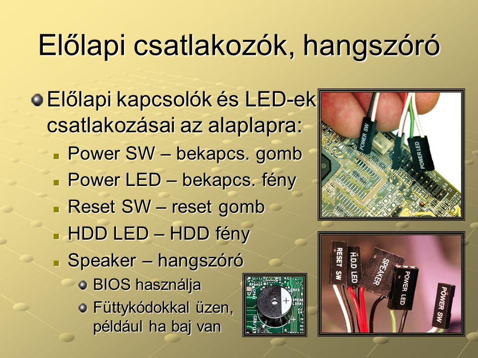 Előlapi csatlakozók, hangszóró Előlapi kapcsolók és LED-ek csatlakozásai az alaplapra: Power SW – bekapcs. gomb Power SW – bekapcs. gomb Power LED – b