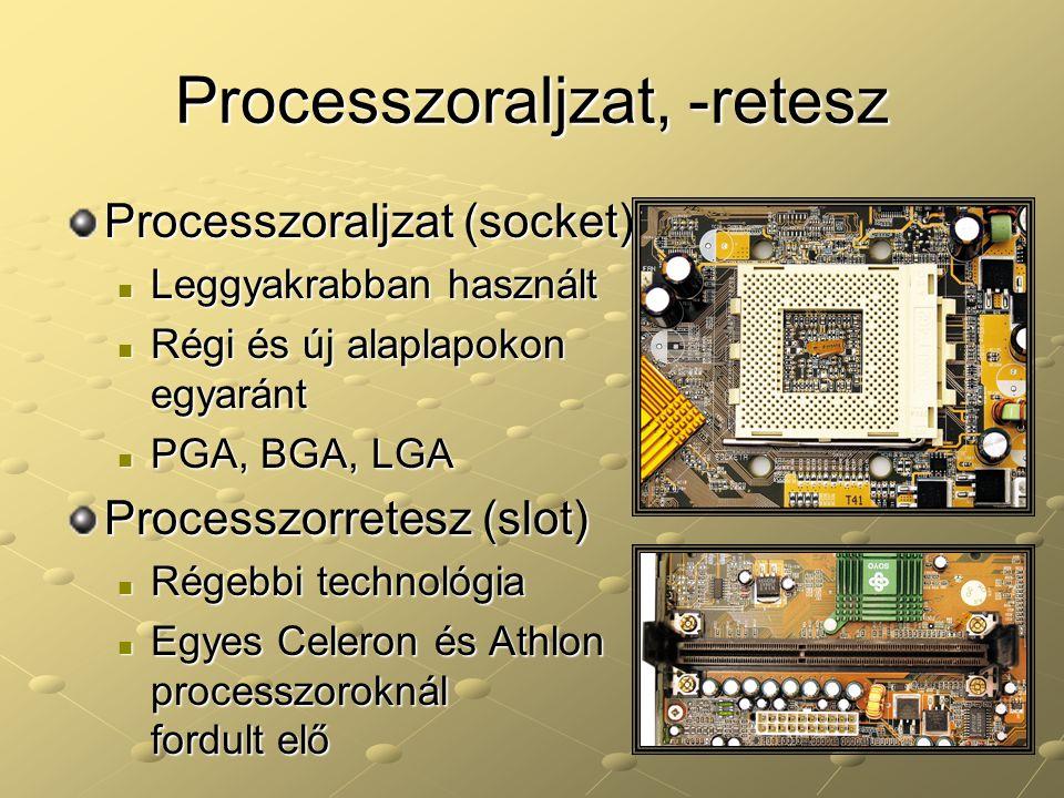 Processzoraljzat, -retesz Processzoraljzat (socket) Leggyakrabban használt Leggyakrabban használt Régi és új alaplapokon egyaránt Régi és új alaplapok