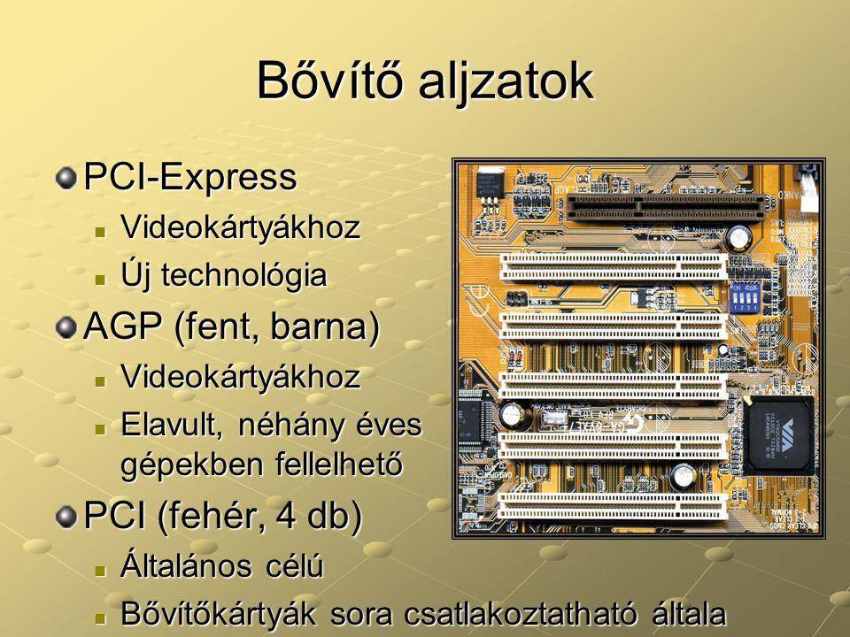 Bővítő aljzatok PCI-Express Videokártyákhoz Videokártyákhoz Új technológia Új technológia AGP (fent, barna) Videokártyákhoz Videokártyákhoz Elavult, n