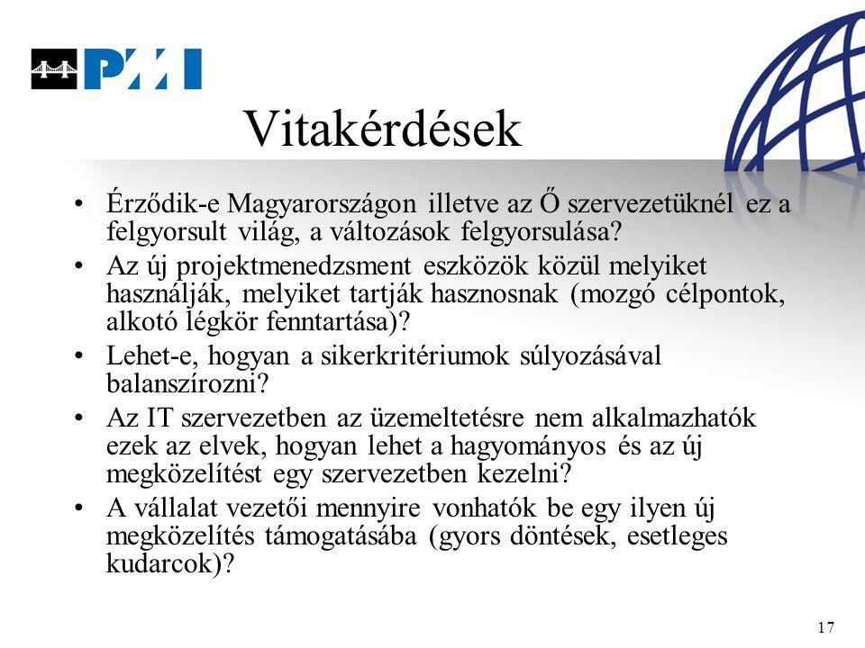 17 Vitakérdések Érződik-e Magyarországon illetve az Ő szervezetüknél ez a felgyorsult világ, a változások felgyorsulása.