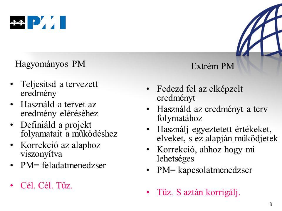 8 Hagyományos PM Teljesítsd a tervezett eredmény Használd a tervet az eredmény eléréséhez Definiáld a projekt folyamatait a működéshez Korrekció az alaphoz viszonyítva PM= feladatmenedzser Cél.