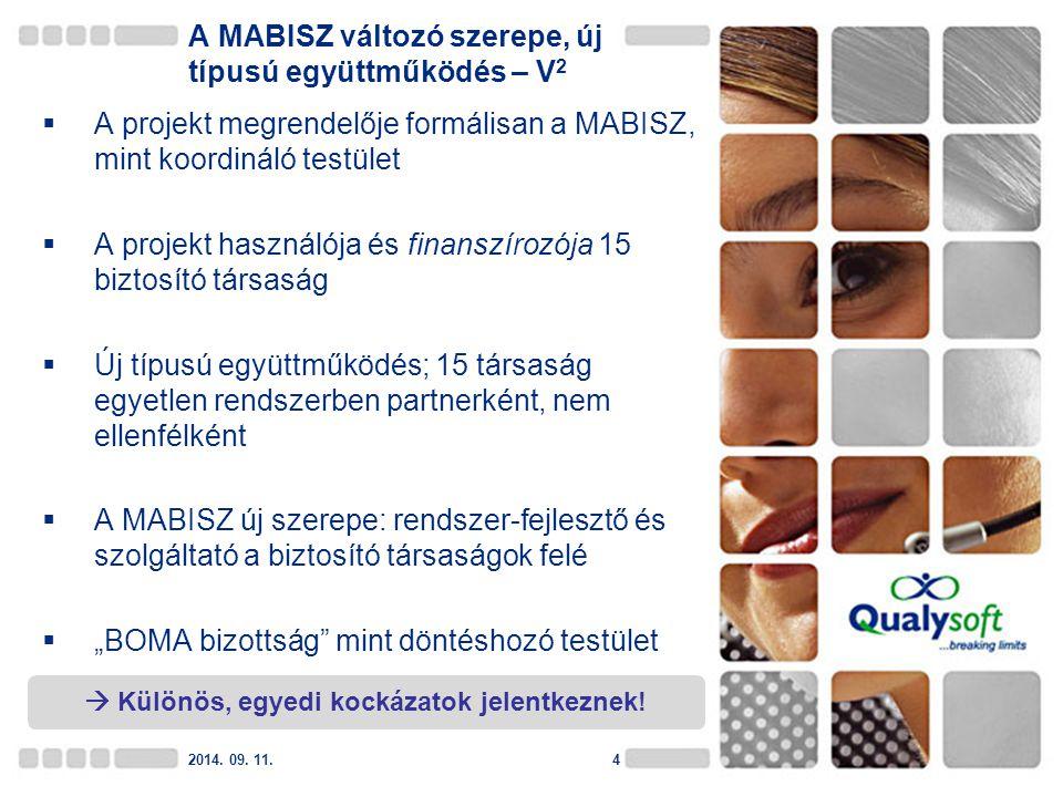 A MABISZ változó szerepe, új típusú együttműködés – V 2  A projekt megrendelője formálisan a MABISZ, mint koordináló testület  A projekt használója