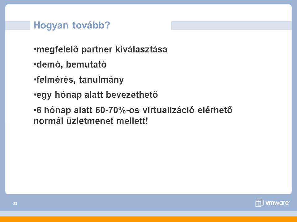 23 Hogyan tovább? megfelelő partner kiválasztása demó, bemutató felmérés, tanulmány egy hónap alatt bevezethető 6 hónap alatt 50-70%-os virtualizáció