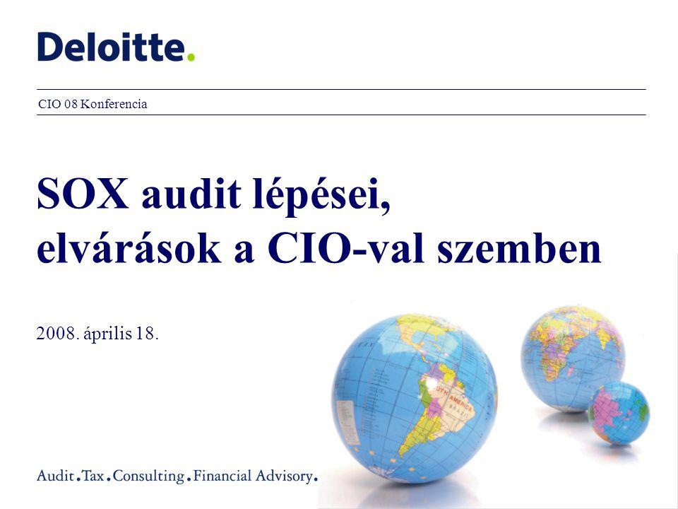 SOX audit lépései, elvárások a CIO-val szemben 2008. április 18. CIO 08 Konferencia