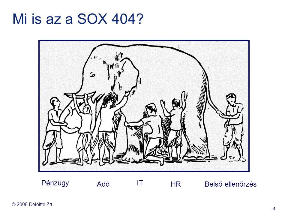 © 2008 Deloitte Zrt. 4 Mi is az a SOX 404? Pénzügy Adó IT HRBelső ellenőrzés