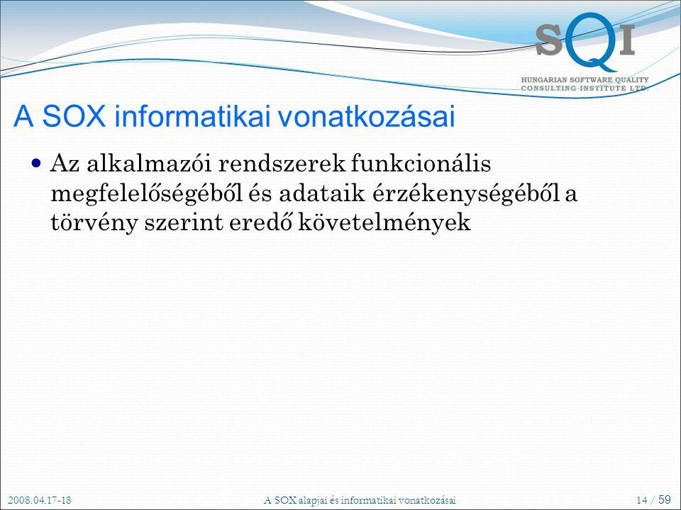 2008.04.17-18A SOX alapjai és informatikai vonatkozásai14 / 59 A SOX informatikai vonatkozásai Az alkalmazói rendszerek funkcionális megfelelőségéből és adataik érzékenységéből a törvény szerint eredő követelmények