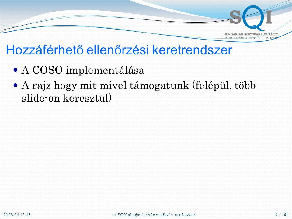 2008.04.17-18A SOX alapjai és informatikai vonatkozásai19 / 59 Hozzáférhető ellenőrzési keretrendszer A COSO implementálása A rajz hogy mit mivel támogatunk (felépül, több slide-on keresztül)