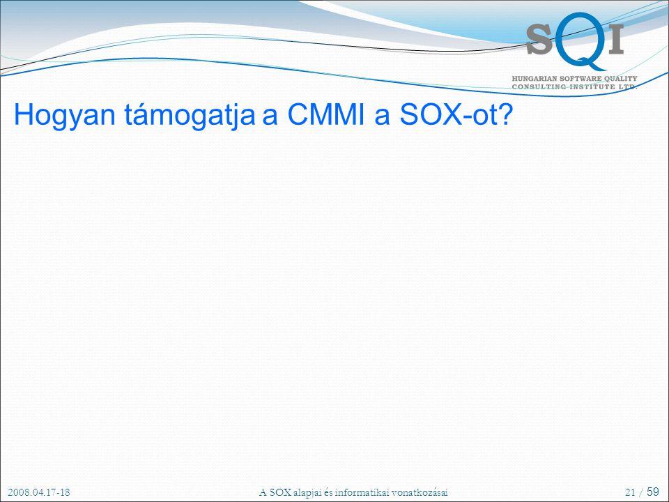 2008.04.17-18A SOX alapjai és informatikai vonatkozásai21 / 59 Hogyan támogatja a CMMI a SOX-ot?