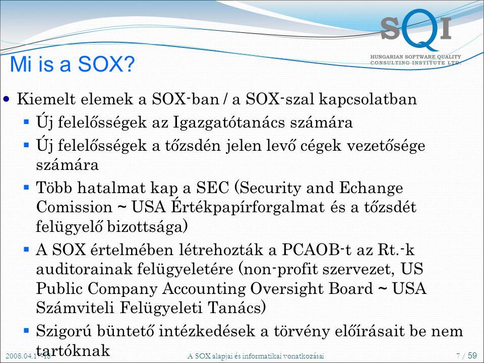 2008.04.17-18A SOX alapjai és informatikai vonatkozásai7 / 59 Mi is a SOX.