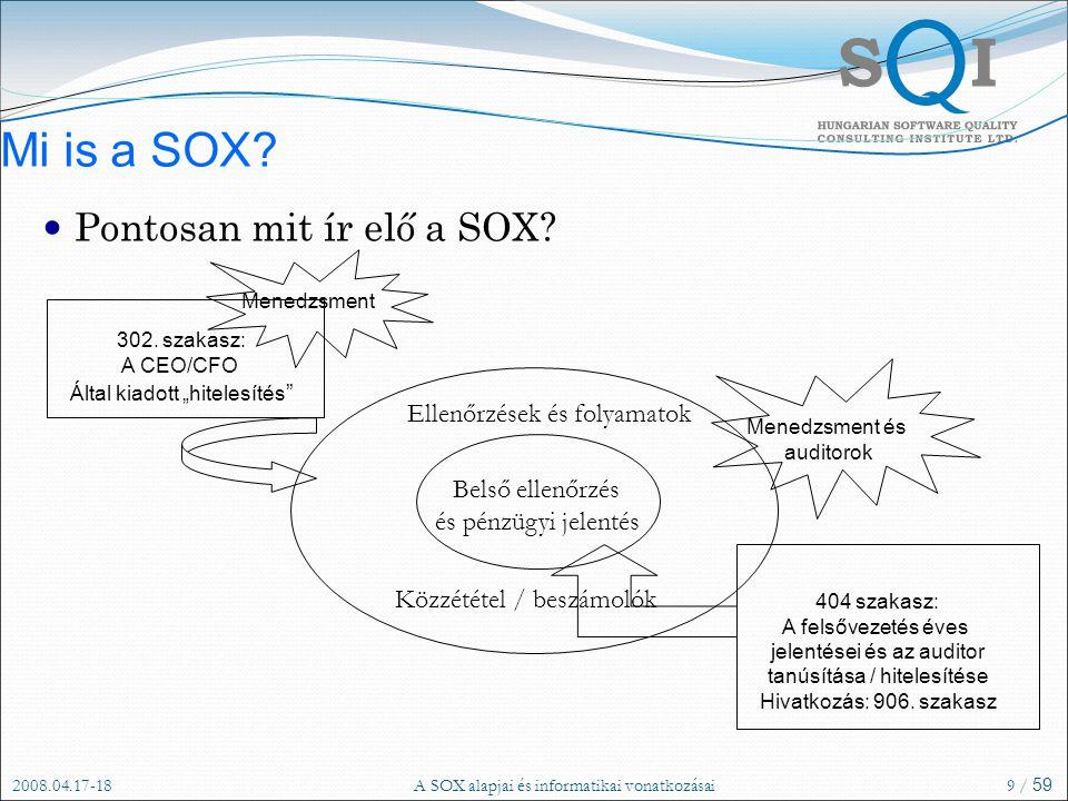 2008.04.17-18A SOX alapjai és informatikai vonatkozásai9 / 59 Mi is a SOX.