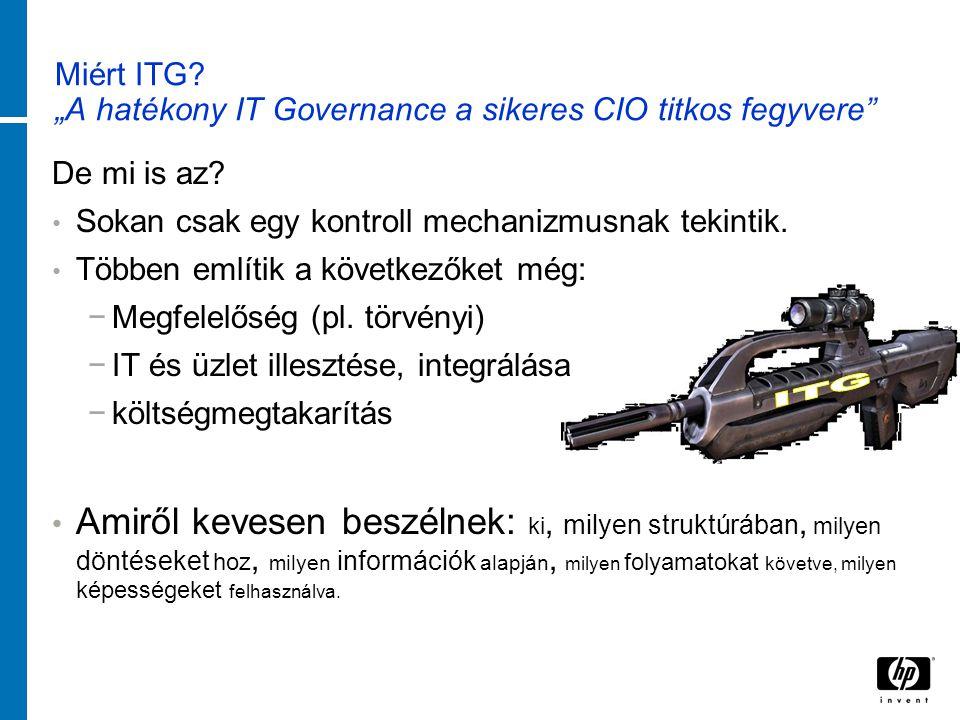 """Miért ITG. """"A hatékony IT Governance a sikeres CIO titkos fegyvere De mi is az."""