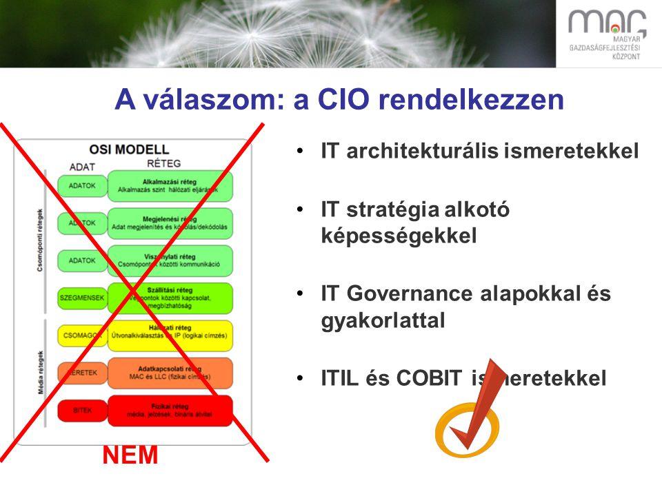 A válaszom: a CIO rendelkezzen IT architekturális ismeretekkel IT stratégia alkotó képességekkel IT Governance alapokkal és gyakorlattal ITIL és COBIT ismeretekkel NEM