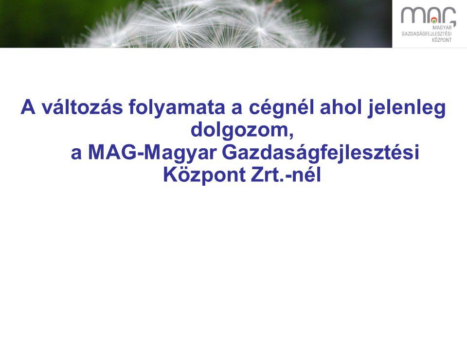 A változás folyamata a cégnél ahol jelenleg dolgozom, a MAG-Magyar Gazdaságfejlesztési Központ Zrt.-nél