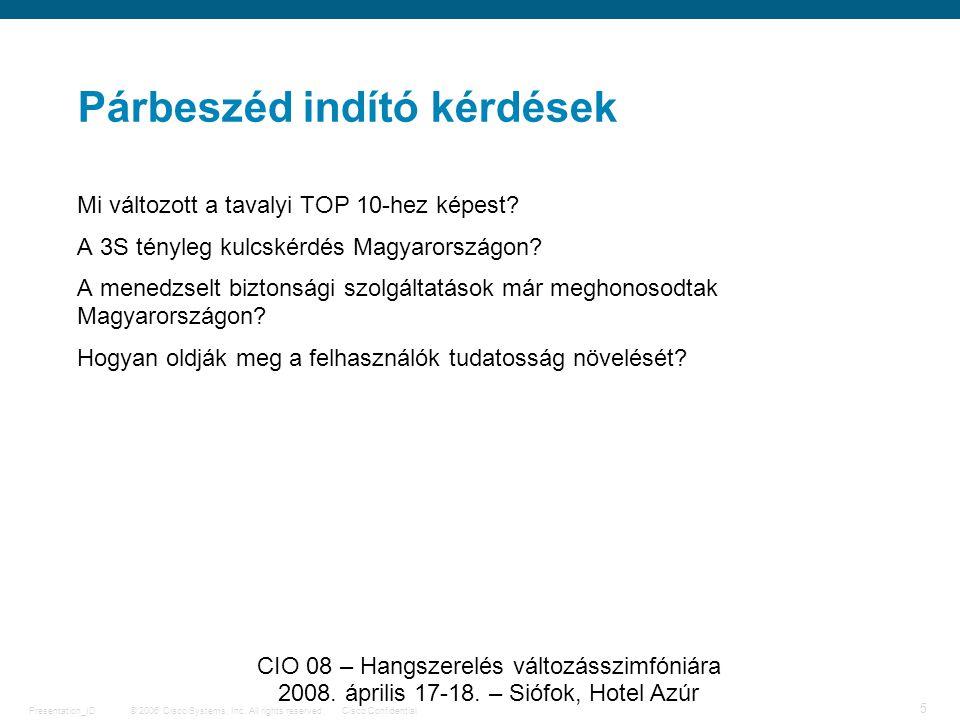 © 2006 Cisco Systems, Inc. All rights reserved.Cisco ConfidentialPresentation_ID 5 CIO 08 – Hangszerelés változásszimfóniára 2008. április 17-18. – Si