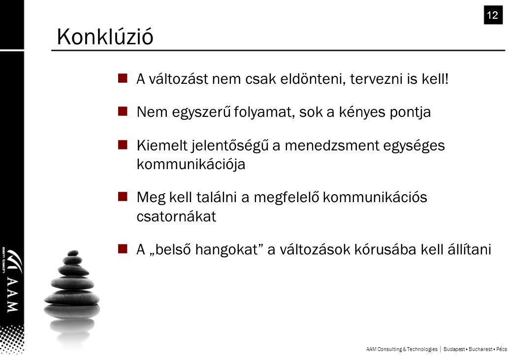 AAM Consulting & Technologies │ Budapest ▪ Bucharest ▪ Pécs 12 A változást nem csak eldönteni, tervezni is kell.