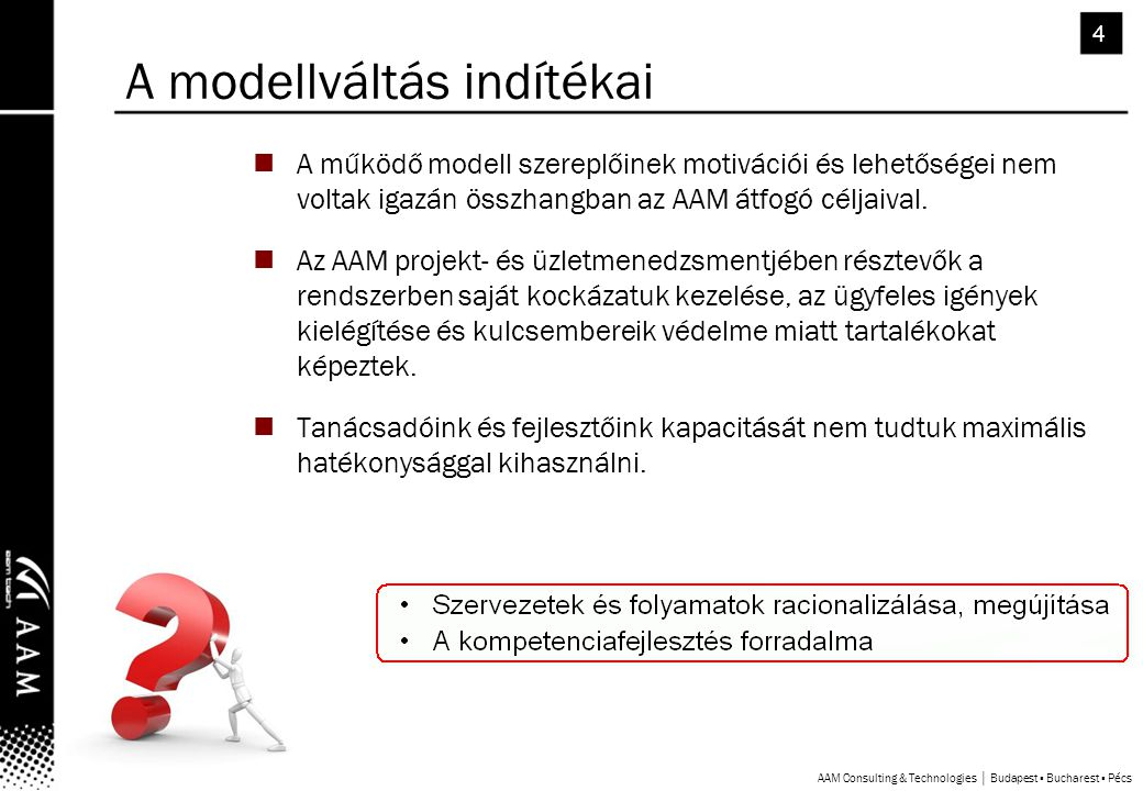 4 A működő modell szereplőinek motivációi és lehetőségei nem voltak igazán összhangban az AAM átfogó céljaival.