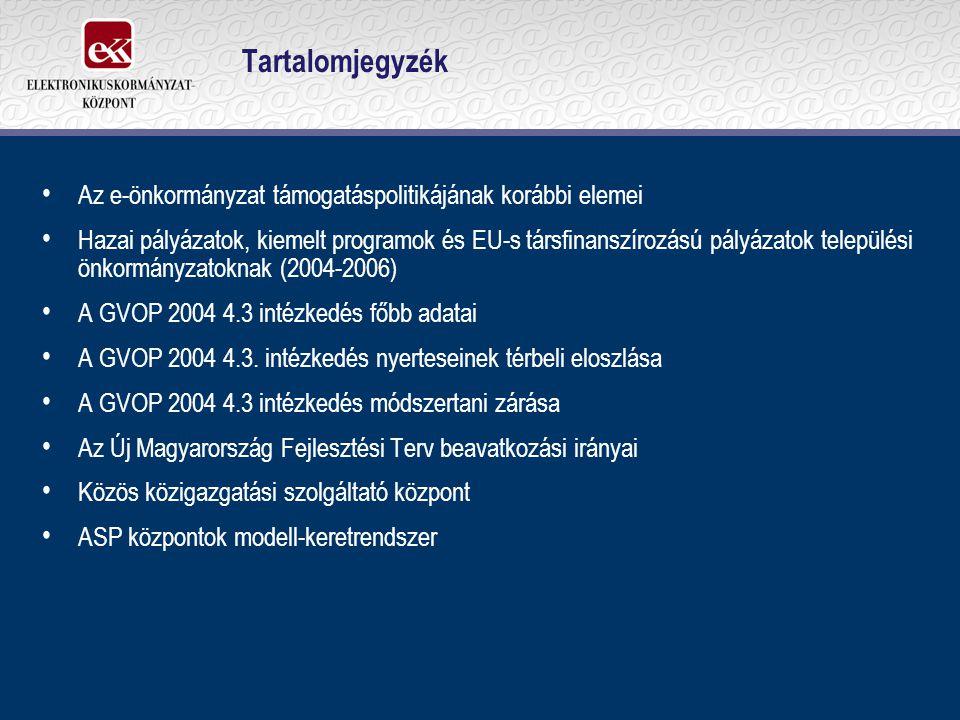 Tartalomjegyzék Az e-önkormányzat támogatáspolitikájának korábbi elemei Hazai pályázatok, kiemelt programok és EU-s társfinanszírozású pályázatok települési önkormányzatoknak (2004-2006) A GVOP 2004 4.3 intézkedés főbb adatai A GVOP 2004 4.3.