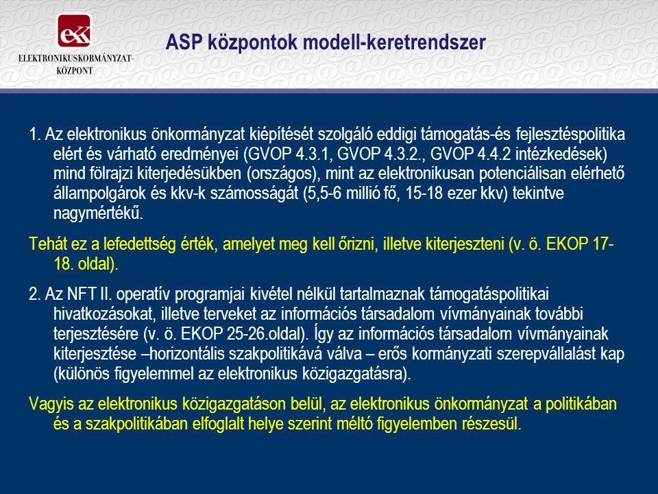 ASP központok modell-keretrendszer 1. Az elektronikus önkormányzat kiépítését szolgáló eddigi támogatás-és fejlesztéspolitika elért és várható eredmén