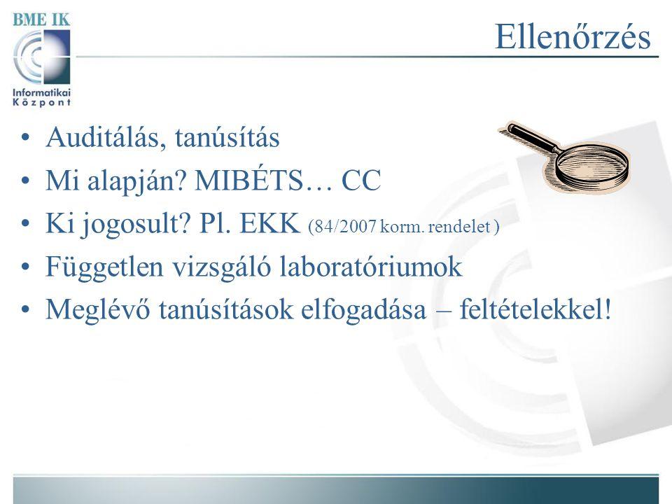 Ellenőrzés Auditálás, tanúsítás Mi alapján. MIBÉTS… CC Ki jogosult.
