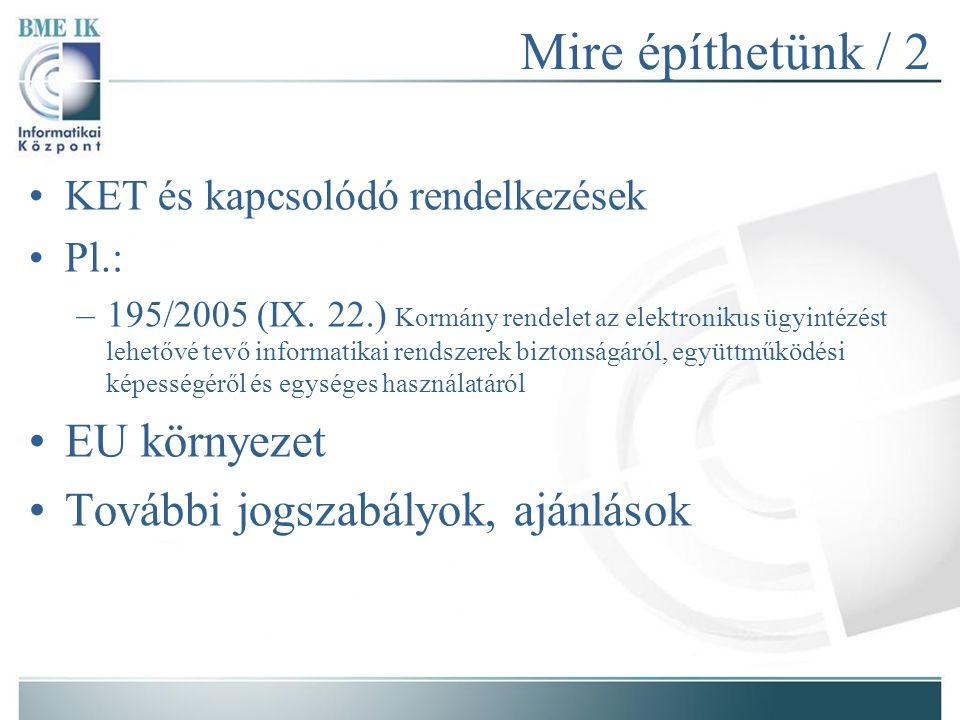 Mire építhetünk / 2 KET és kapcsolódó rendelkezések Pl.: –195/2005 (IX.
