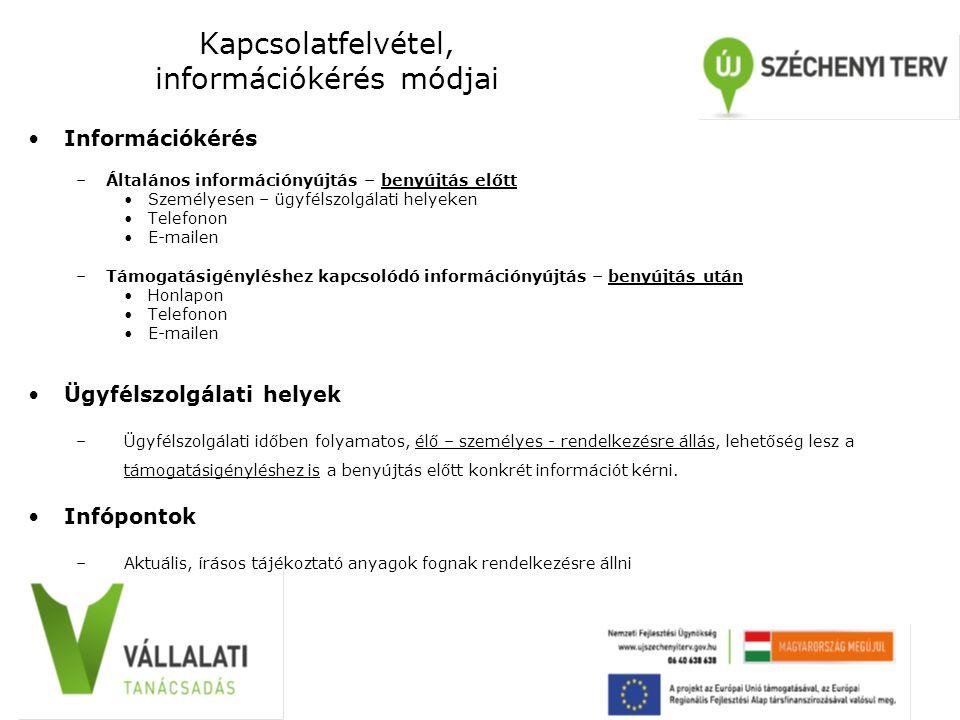 Kapcsolatfelvétel, információkérés módjai Információkérés –Általános információnyújtás – benyújtás előtt Személyesen – ügyfélszolgálati helyeken Telef