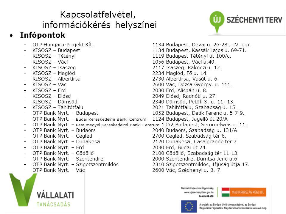 Kapcsolatfelvétel, információkérés helyszínei Infópontok –OTP Hungaro-Projekt Kft. 1134 Budapest, Dévai u. 26-28., IV. em. –KISOSZ – Budapest 1134 Bud