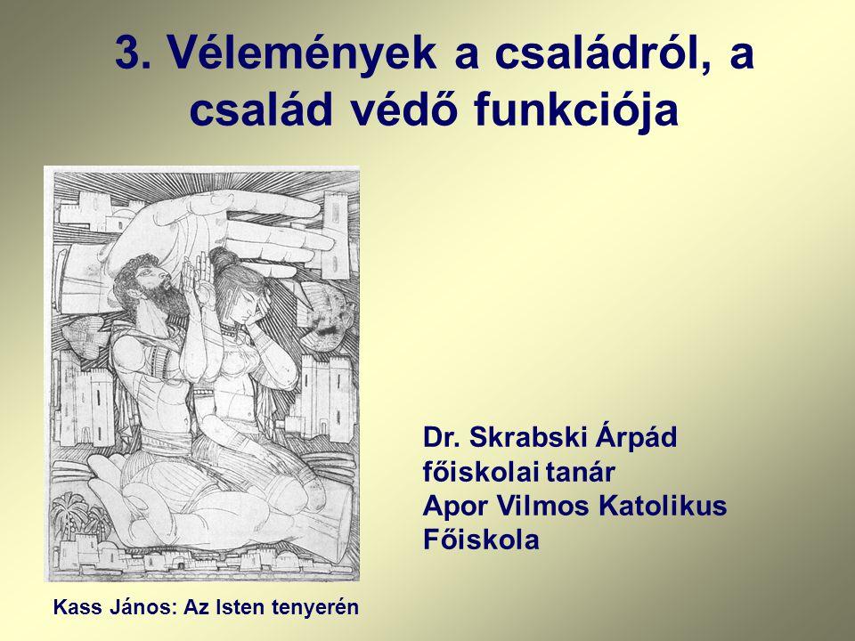 3.Vélemények a családról, a család védő funkciója Kass János: Az Isten tenyerén Dr.
