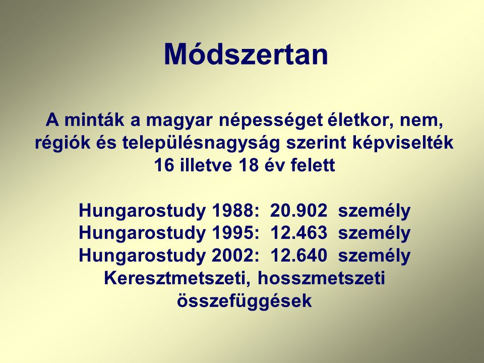 Módszerek Hungarostudy 2002 kérdőíves vizsgálat 117 kérdéscsoport (kb.