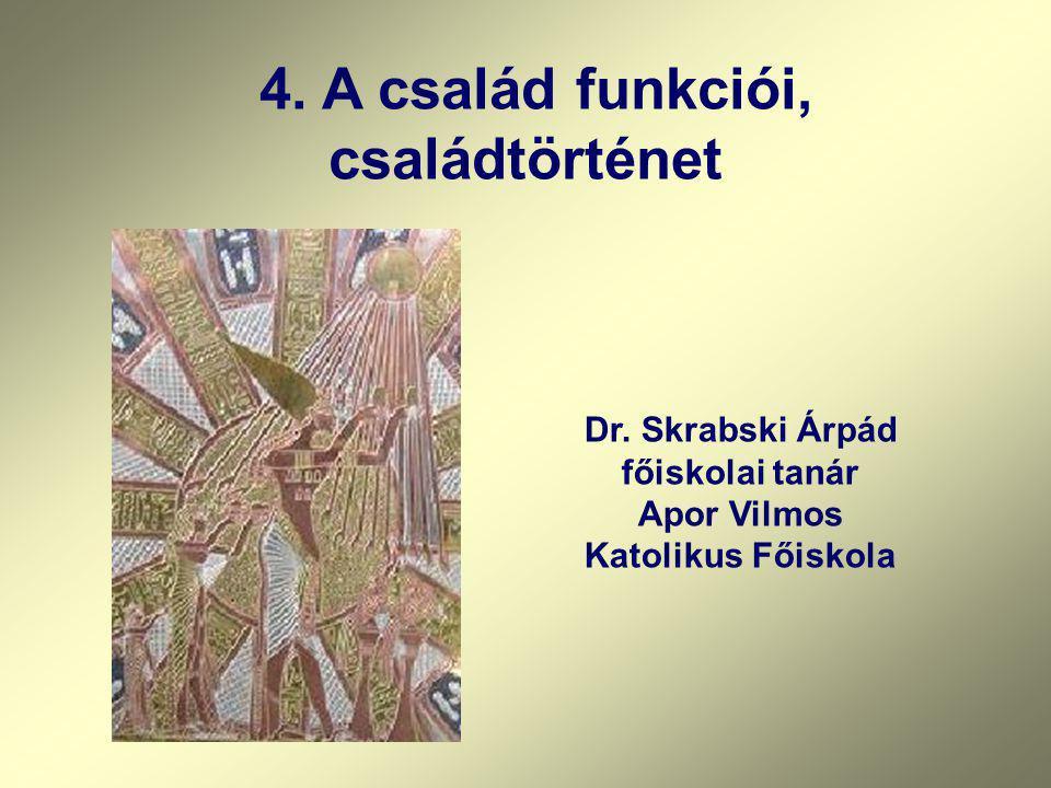 4. A család funkciói, családtörténet Dr. Skrabski Árpád főiskolai tanár Apor Vilmos Katolikus Főiskola