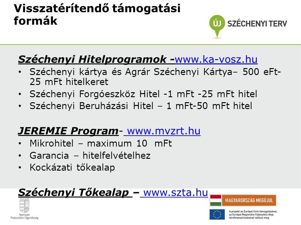 Visszatérítendő támogatási formák Széchenyi Hitelprogramok -www.ka-vosz.huwww.ka-vosz.hu Széchenyi kártya és Agrár Széchenyi Kártya– 500 eFt- 25 mFt hitelkeret Széchenyi Forgóeszköz Hitel -1 mFt -25 mFt hitel Széchenyi Beruházási Hitel – 1 mFt-50 mFt hitel JEREMIE Program- www.mvzrt.huwww.mvzrt.hu Mikrohitel – maximum 10 mFt Garancia – hitelfelvételhez Kockázati tőkealap Széchenyi Tőkealap – www.szta.huwww.szta.hu