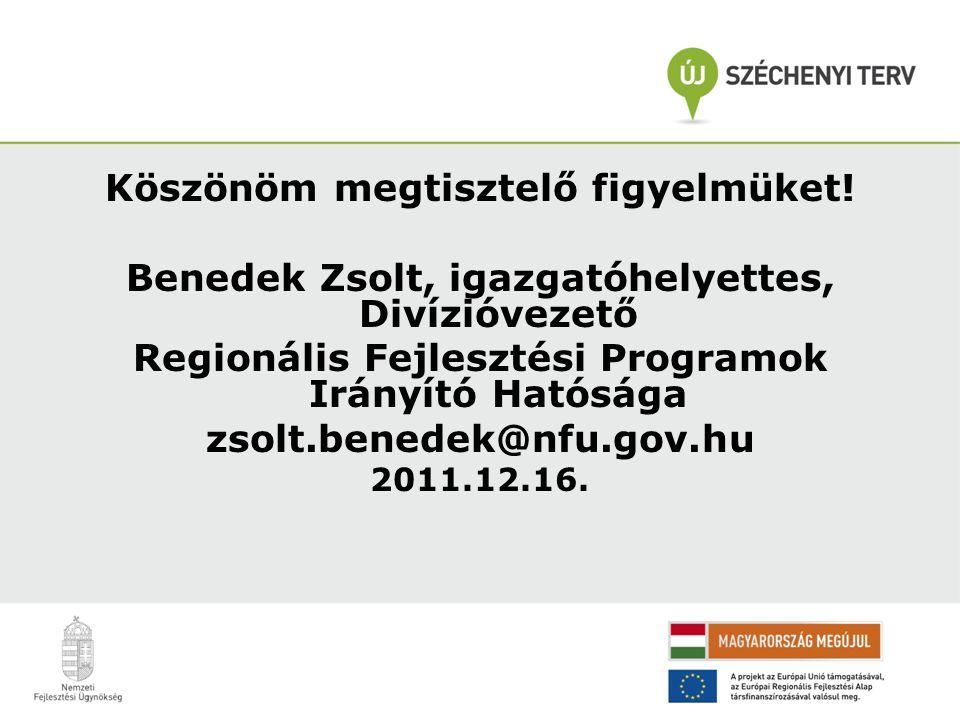 Köszönöm megtisztelő figyelmüket! Benedek Zsolt, igazgatóhelyettes, Divízióvezető Regionális Fejlesztési Programok Irányító Hatósága zsolt.benedek@nfu