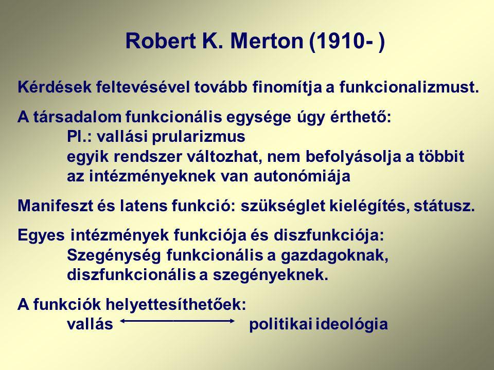 Robert K. Merton (1910- ) Kérdések feltevésével tovább finomítja a funkcionalizmust.