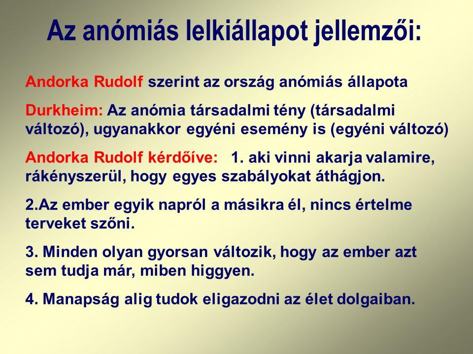 Az anómiás lelkiállapot jellemzői: Andorka Rudolf szerint az ország anómiás állapota Durkheim: Az anómia társadalmi tény (társadalmi változó), ugyanakkor egyéni esemény is (egyéni változó) Andorka Rudolf kérdőíve: 1.
