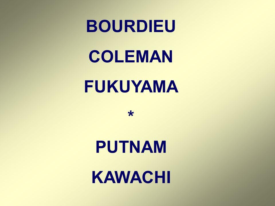 BOURDIEU COLEMAN FUKUYAMA * PUTNAM KAWACHI