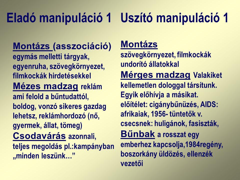 Eladó manipuláció 1Uszító manipuláció 1 Montázs (asszociáció) egymás melletti tárgyak, egyenruha, szövegkörnyezet, filmkockák hirdetésekkel Mézes madz