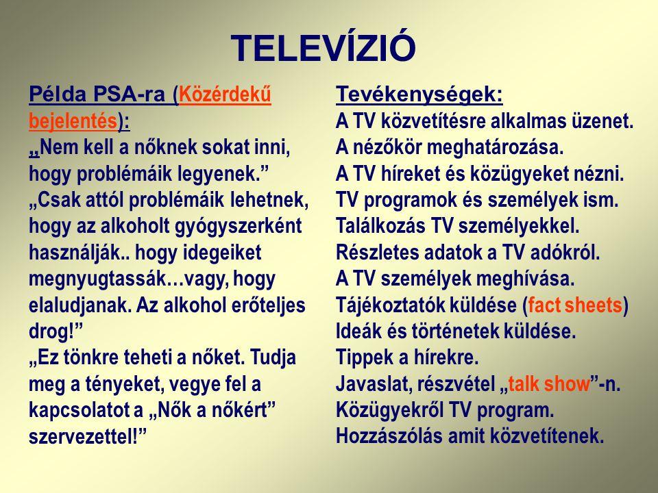 TELEVÍZIÓ Tevékenységek: A TV közvetítésre alkalmas üzenet. A nézőkör meghatározása. A TV híreket és közügyeket nézni. TV programok és személyek ism.
