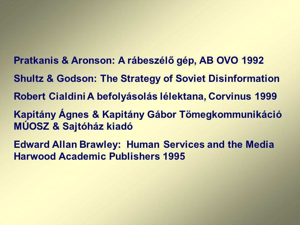 Pratkanis & Aronson: A rábeszélő gép, AB OVO 1992 Shultz & Godson: The Strategy of Soviet Disinformation Robert Cialdini A befolyásolás lélektana, Cor
