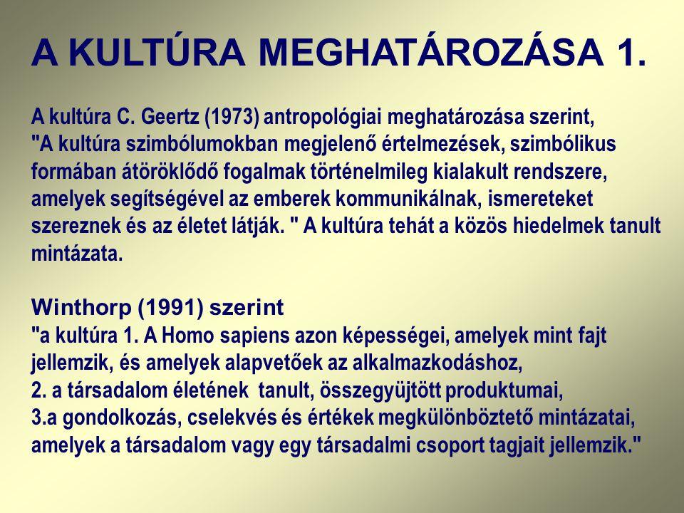 A KULTÚRA MEGHATÁROZÁSA 1. A kultúra C. Geertz (1973) antropológiai meghatározása szerint,