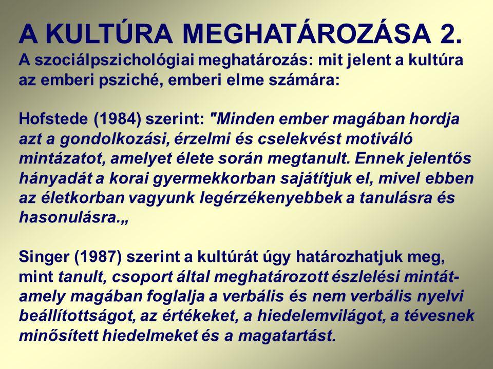 A KULTÚRA MEGHATÁROZÁSA 2. A szociálpszichológiai meghatározás: mit jelent a kultúra az emberi psziché, emberi elme számára: Hofstede (1984) szerint: