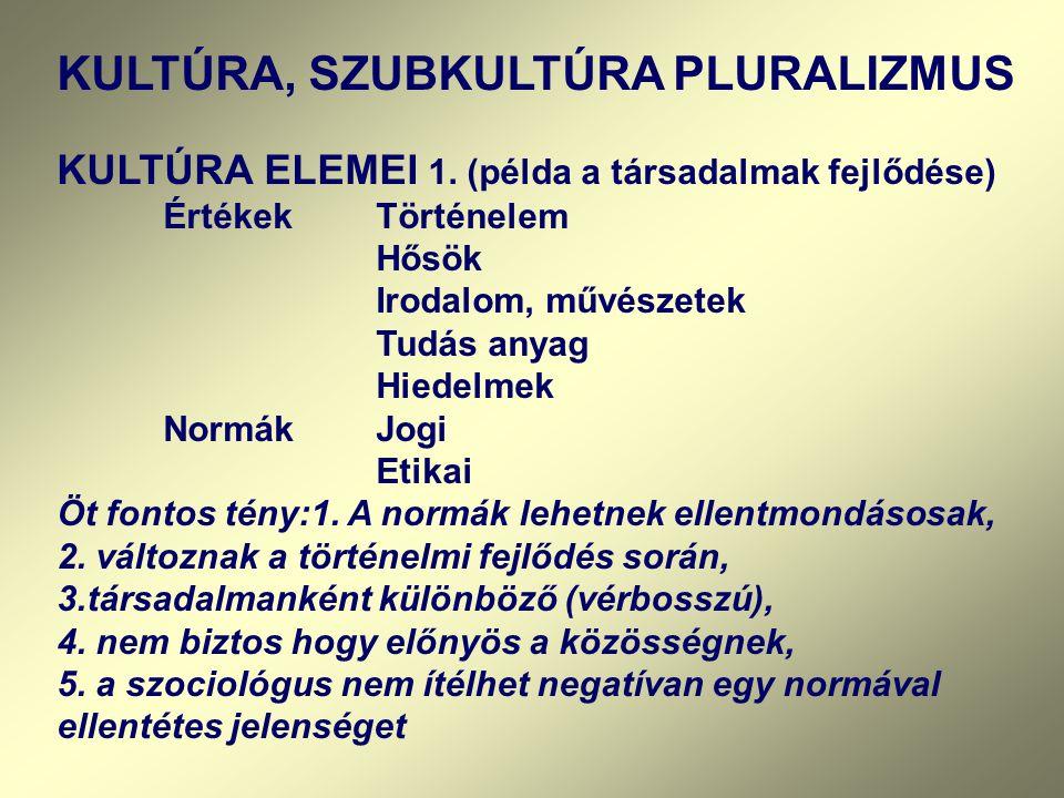 KULTÚRA, SZUBKULTÚRA PLURALIZMUS KULTÚRA ELEMEI 1. (példa a társadalmak fejlődése) ÉrtékekTörténelem Hősök Irodalom, művészetek Tudás anyag Hiedelmek