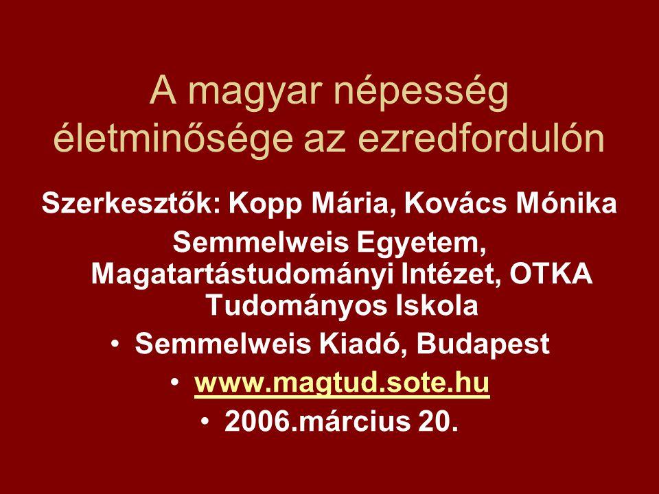 A magyar népesség életminősége az ezredfordulón Szerkesztők: Kopp Mária, Kovács Mónika Semmelweis Egyetem, Magatartástudományi Intézet, OTKA Tudományo