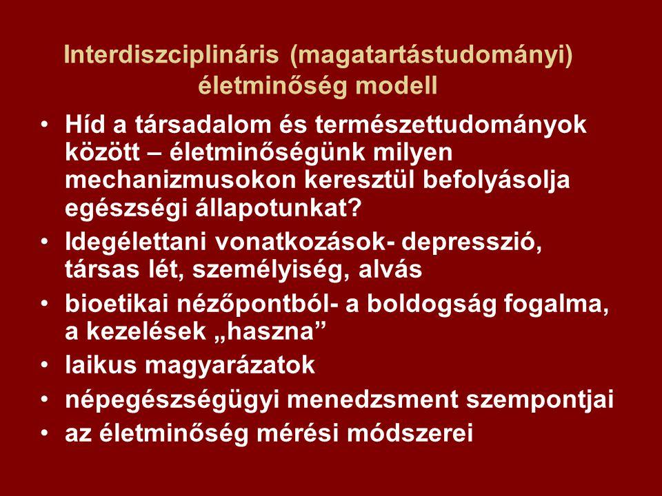 Interdiszciplináris (magatartástudományi) életminőség modell Híd a társadalom és természettudományok között – életminőségünk milyen mechanizmusokon keresztül befolyásolja egészségi állapotunkat.