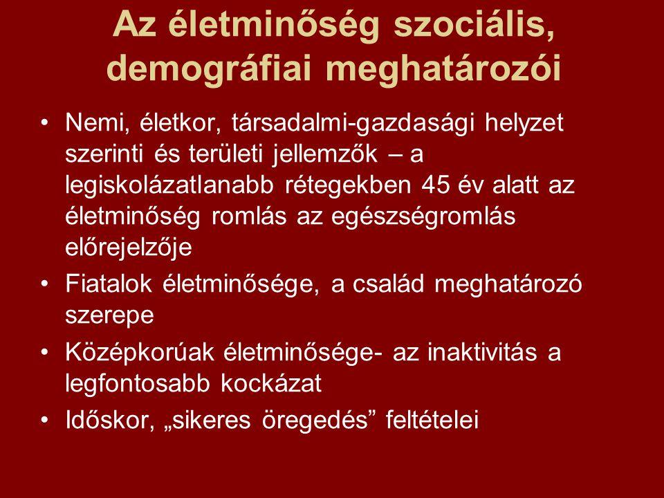 Az életminőség szociális, demográfiai meghatározói Nemi, életkor, társadalmi-gazdasági helyzet szerinti és területi jellemzők – a legiskolázatlanabb r