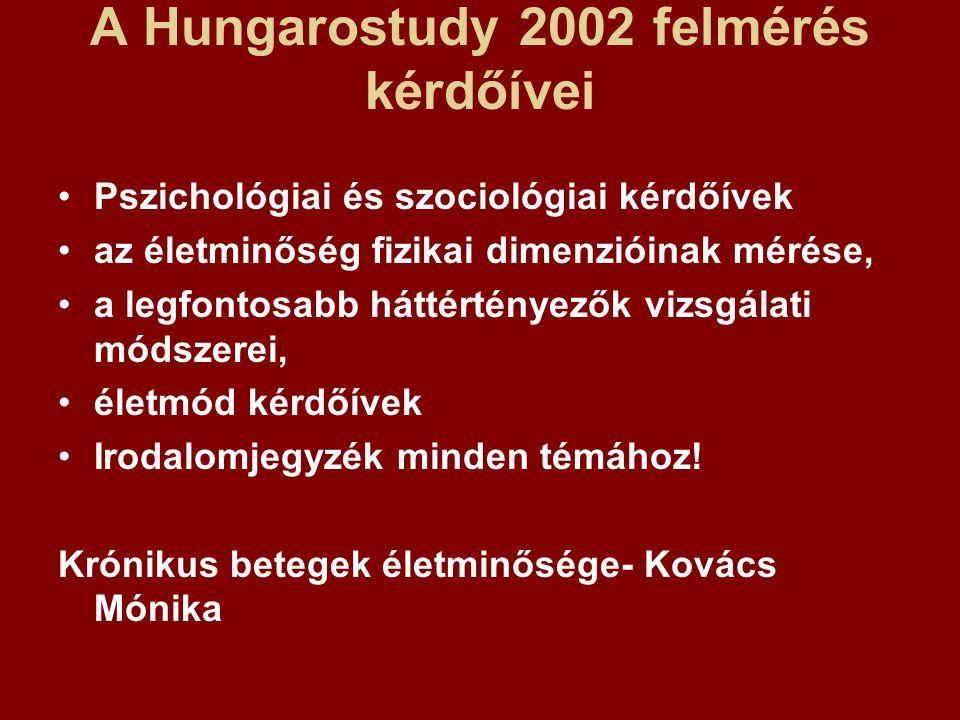 A Hungarostudy 2002 felmérés kérdőívei Pszichológiai és szociológiai kérdőívek az életminőség fizikai dimenzióinak mérése, a legfontosabb háttértényezők vizsgálati módszerei, életmód kérdőívek Irodalomjegyzék minden témához.