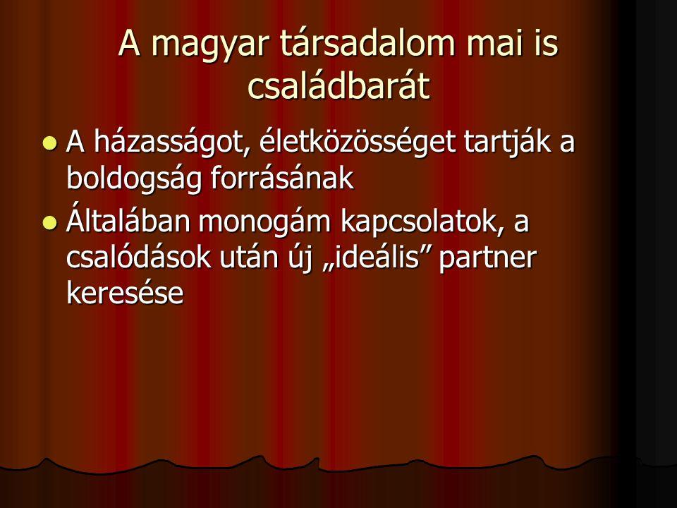 A magyar társadalom mai is családbarát A házasságot, életközösséget tartják a boldogság forrásának A házasságot, életközösséget tartják a boldogság fo